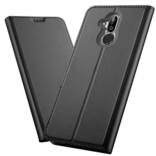 XINKO Nokia 8.1 Wallet Tasche Hülle - [Ultra Slim][Card Slot][Eingebauter Magnet] Flip Wallet Case Etui für Nokia 8.1 - Glatt Series schwarz
