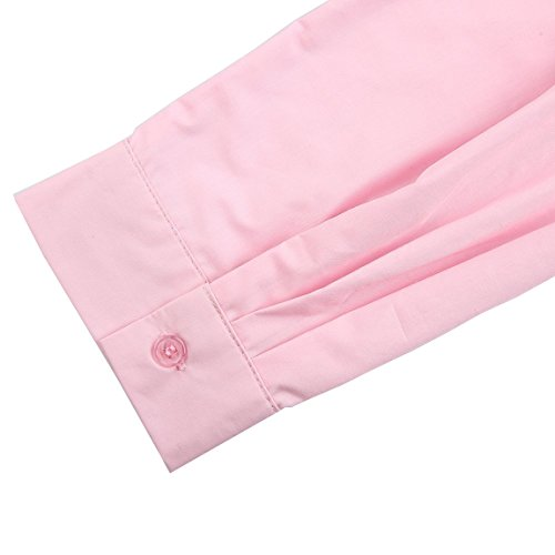 HAODUOYI Chemisier - Manches Longues - Opaque - Femme Rose