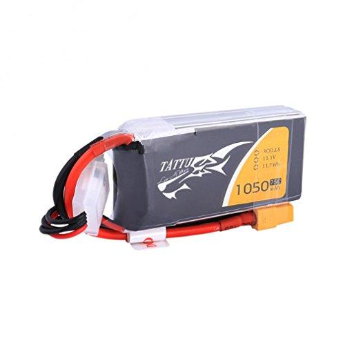 Tattu LiPo Batterie 1050mAh 11.1V 75C 3S pour FPV Racing Quadricoptère Racing Diverse Avions d'hélicoptère Drone et maquettes de Bateaux