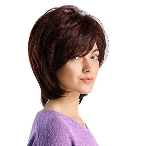 1 STÜCK Natürlich Aussehende Sexy Stil frauen Weinrot Staright Perücke Haar Mädchen Einstellbare Kunstfaser Kurze Perücken Für Party Kostüm Täglichen ()