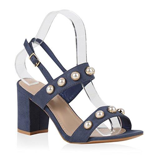 Damen Sandaletten Blockabsatz High Heels Zierperlen Schuhe Dunkelblau