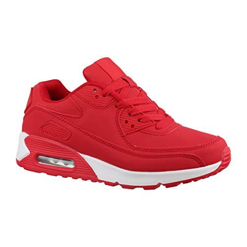 Elara Trendige Unisex Sneaker Damen Herren Kinder Sport Laufschuhe Turnschuhe Chunkyrayan Y011-H011 Red-37