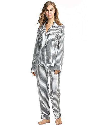 Ekouaer Damen Gestreift Schlafanzug Kurzarm Zweiteiliger Streifen Pyjama Hausanzug Knöpfen Schwarz913