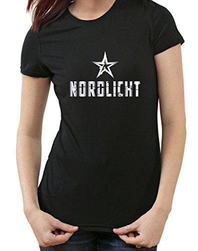 Nordlicht T-Shirt, Hamburg, Flensburg, Bremen, Rostock, Kiel, Lübeck, M, Ladies schwarz