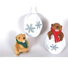 Idea Navidad Bola de nieve suave tejido con muñeco de nieve de peluche Marmota Pro algodón