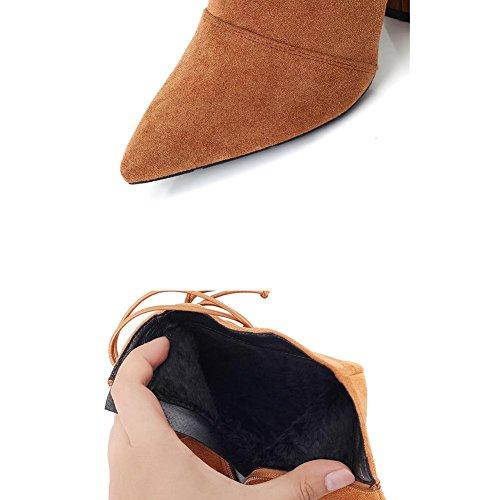 Donna breve stivali in pelle tacchi alti spessi peluche caldo caviglia lacci cerniera scarpe, BROWN-35 BROWN-39