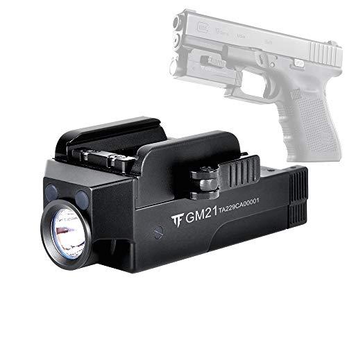 Comunite GM21 - Luz LED para pistola (510 lúmenes, recargable, con riel ajustable, montaje de liberación rápida para Glock, Springfield, Sig Sauer)