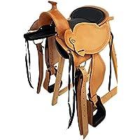 A&M Reitsport Baumloser Westernsattel MICHIGAN Eco aus Büffelleder mit Klettkissen