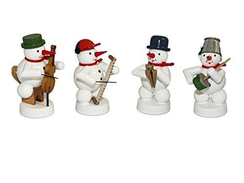 Schneemannkapelle 4 Figuren Schalmei, Cello, Brummtopf, singende Säge Höhe 8 cm NEU Weihnachtsfigur Tischfigur Holz Erzgebirge