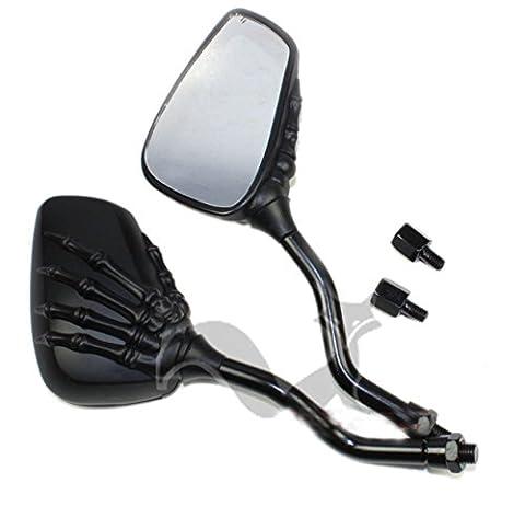 2X Plated Skull Skeleton Claw Rearview Side Mirrors For Suzuki Honda Kawasak Suziki Scooter Street Bike Motorcycle Moto Bike Cruiser Chopper