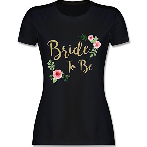 Shirtracer JGA Junggesellinnenabschied - Bride to Be - Damen T-Shirt Rundhals Schwarz