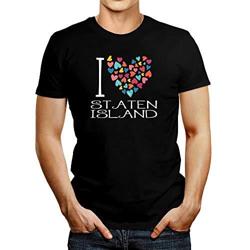 Idakoos I Love Staten Island Colorful Hearts T-Shirt M