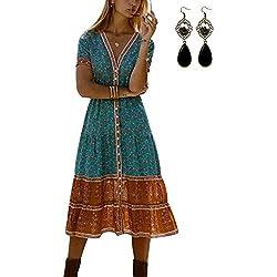PIPIHU Mujer Vestido de Playa Verano Bohemia Floral Impreso Vestido de Fiesta Largo Azul L