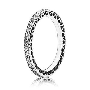 Pandora Damen-Ring Unendliche Herzen 925 Silber Zirkonia transparent – 190963CZ