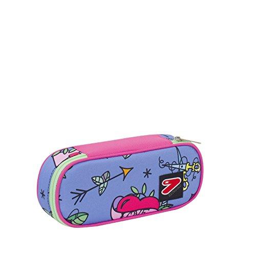 Portapenne round plus scuola seven the double - swallow - rosa azzurro - porta penne