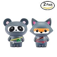 Yojoloin Squishies Squishy 2PCS Ninja Fox Panda Squishy Súper Jumbo Descompresión Slow Rising Fidget Toy Scented Rare JUNKE Diversión, el Mejor Regalo (Fox y Panda) de Yojoloin