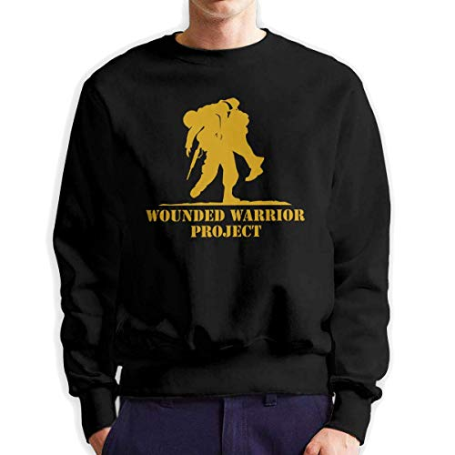 SASJOD Männer Hoodies Wounded Warrior Men's Adult Crew Neck Sweatshirt Fashion Long Sleeve Pullover -