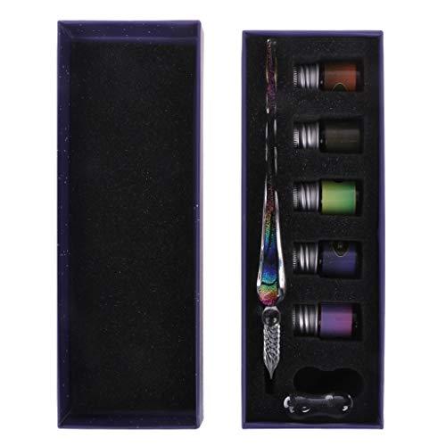 Eliky Handgemachte Kristallglas Dip Pen Glasfüller Glas Dip Pen zum Schreiben Füllfederhalter Set Geschenk (A) Glas Dip