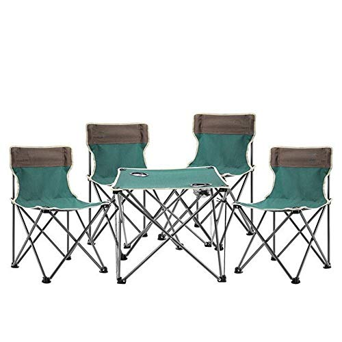 Zaqxsw tavolo pieghevole da esterno portatile e sedia da spiaggia a cinque pezzi con baldacchino da pesca abbinato a tavolo e sedie da picnic (colore : verde)
