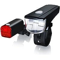 CSL - LED Fahrradbeleuchtung Set StVZO zugelassen | Fahrradlicht / Fahrradlampe / Fahrradleuchte | inkl. Front- und Rücklicht | 1x Lichtstärke-Modus | energiesparend | stoßfest