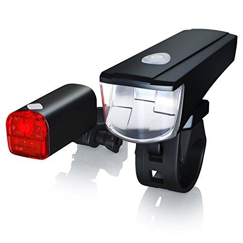CSL-Computer CSL - LED Fahrradbeleuchtung Set StVZO zugelassen | Fahrradlicht/Fahrradlampe/Fahrradleuchte | inkl. Front- und Rücklicht | 1x Lichtstärke-Modus | energiesparend | stoßfest