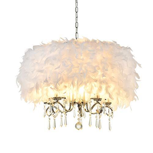 ZRSZ Continental Feder Deckenleuchte,Kreative Schlafzimmer Dekorative Lichter Kronleuchter,Kinderzimmer Bekleidungsgeschäft Federlampe|E27|5 Flammen(Weiß)