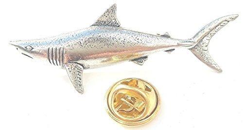 Mako Pesce Squalo Fatto artigianalmente da Peltro Inglese nel Regno Unito Distintivo Di Lapel Pin + 59mm Spilla + Sacchetto Regalo