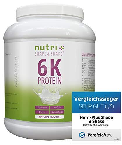 Proteinpulver Neutral 1kg (TESTSIEGER Eiweißpulver 2018) Nutri-Plus Shape & Shake ohne Süßstoff - auch ideal zum Backen - mit Whey-Isolat & Casein