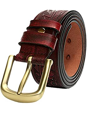 Xiaoqin Cinturones de Hombres tallados en Cuero Artesanal Cinturones de Hombres Negocio Casual Pin Hebilla de...