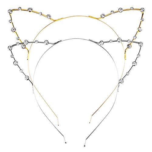 Diademas Metálicas Orejas de Gato de Diamante Cristal de Imitación, 2 Piezas, Dorado y Plateado
