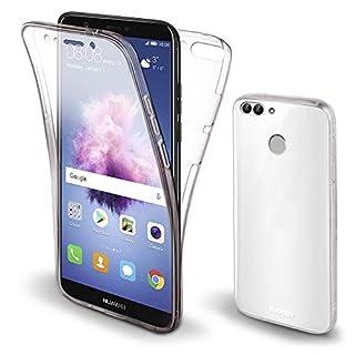 Moozy 360 Grad Hülle für Huawei P Smart - Vorne und Hinten Transparenter TPU Ultra Dünn Weiche Silikon Handyhülle Case