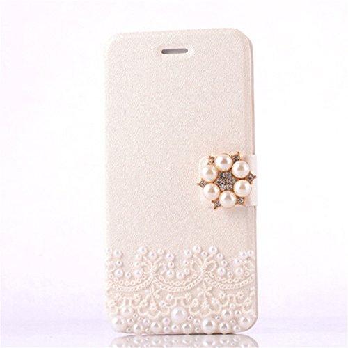 sibaina marque en dentelle en cuir synthétique de haute qualité 3D Bling Perle Cristal Étui portefeuille avec support pour Apple iPhone 66S (11,9cm), Cuir PU, blanc, 11,94 cm