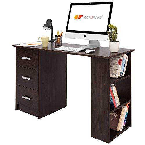 COMIFORT T04W - Escritorio con Cajones y Estantes, Mesa De Oficina, Escritorios De Despacho, 120x49x72 Cm, Color Wengué