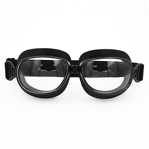 LEAGUE&CO 15 Farben Retrodesign Motorradbrille Schutzbrille Fliegerbrille ATV Brille für Harley Honda Yamaha(Schwarz, Transparent)