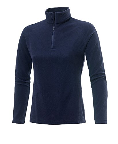Medico Damen Ski Shirt, 100% Polyester, Fleece, langarm, Reißverschluss (Dunkelblau, 46) (Langarm-fleece-shirt)