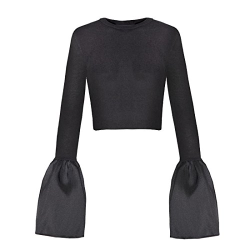 Navel Sleeve Coat Bottoming Shirt Short Black T-Shirt of Female