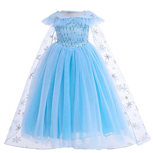 Mädchen Schneekönigin Prinzessin ELSA Kleid Kostüme Pailletten Kleider mit Schnee Mantel Cosplay Halloween Geburtstag Party Kleid Fancy UP (2-3Y) (Schnee Prinzessin Kostüm Kleinkind)