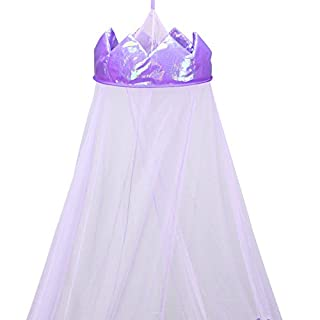 AllRight Crown Mosquito Net Princess Bed Canopy Girls Curtain Dome Canopy Purple