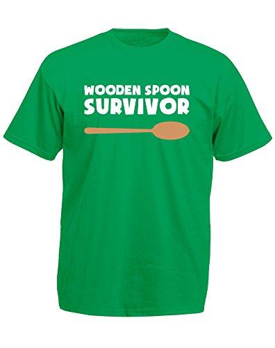 Wooden Spoon Survivor, Mann Gedruckt T-Shirt - Grün/Weiß/Transfer 2XL = 119-124cm -