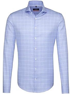 SEIDENSTICKER Herren Hemd Slim 1/1-Arm Bügelleicht Karo City-Hemd Hai-Kragen Kombimanschette weitenverstellbar