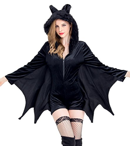 Tier Erwachsenen Kostüme Halloween (Anguang Vampir Fledermaus Flügel Umhang Damen Minikleid Reizvoll Halloween Party Bat Wings Tier Kostüm Karneval Schwarz)