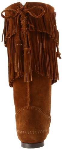 Minnetonka Damen 2-Layer Fringe Boot Stiefel Braun (Dusty Brown)