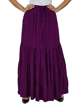 03851ad7b1 Bimba boho largo maxi falda flaired nivel de la cintura elástica de rayón  de las mujeres
