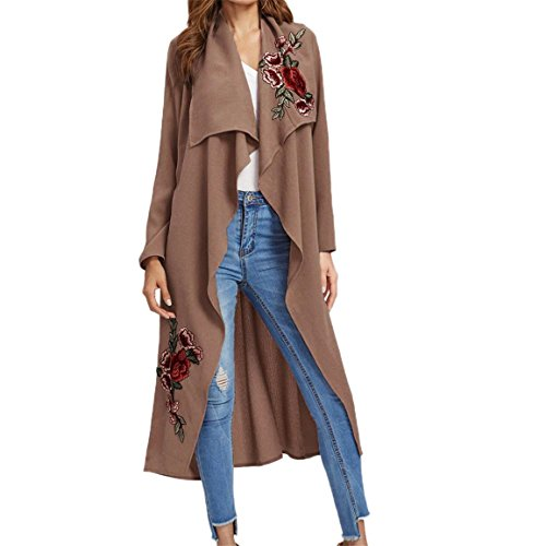 Streifen Button-front Shirt (Neue Frauen Jacke,Moonuy Damen Langarm Jacken Freizeit Sweatshirt Dünn Bluse Mode T-Shirt Rose Floral Printed Shirt Applique Lange Mantel Outwear Open Front Jacke (L, Rosa))