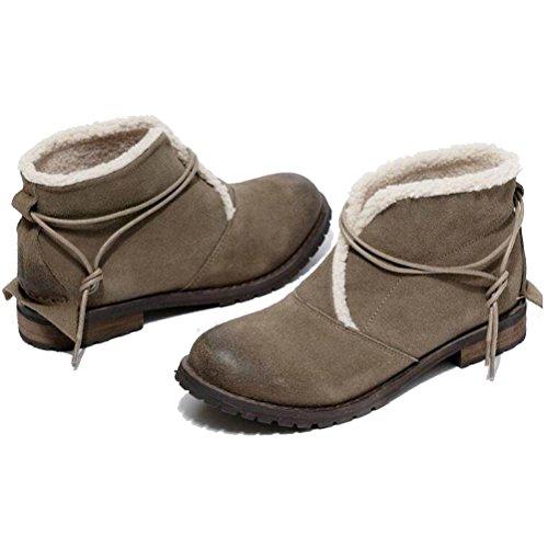 MatchLife Damen Leder Martin Boots Schuhe Style1-Khaki-Fleece