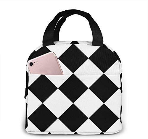Leere Diagonale Schachbrett EPS10 Wiederverwendbare Thermische Lunchpaket Fall Handtaschen Tote mit Reißverschluss für Erwachsene Kinder Krankenschwester Lehrer Arbeit Outdoor Travel Picknick