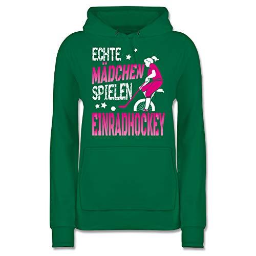 Sonstige Sportarten - Echte Mädchen Spielen Einradhockey - Fuchsia/weiß - XS - Grün - JH001F - Damen Hoodie und Kapuzenpullover für Frauen