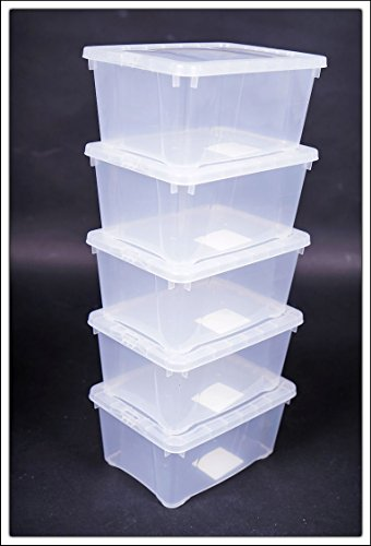 Aufbewahrungsbox Kunststoff (Klarsichtbox mit Deckel - 3 Größen - 3er und 5er Sets (20x16x10 - 5er Set))