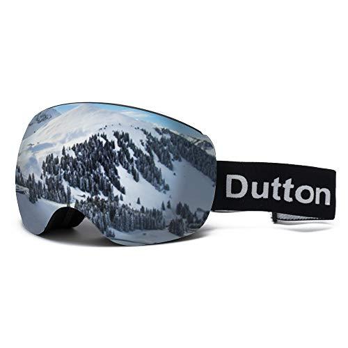 Dutton OTG Skibrille Polarisiert Verspiegelt Snowboardbrille für Brillenträger Damen Herren Skifahren Snowboarden Skaten 100% UV-Schutz Anti-Nebel Skibrillen Austauschbar Sphärische Doppelte Linse
