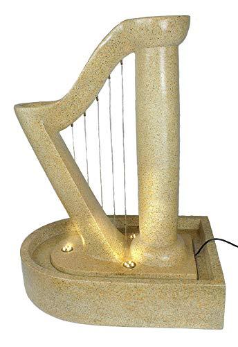 Arnusa Gartenbrunnen Harfe Design Springbrunnen mit LED Beleuchtung Zierbrunnen